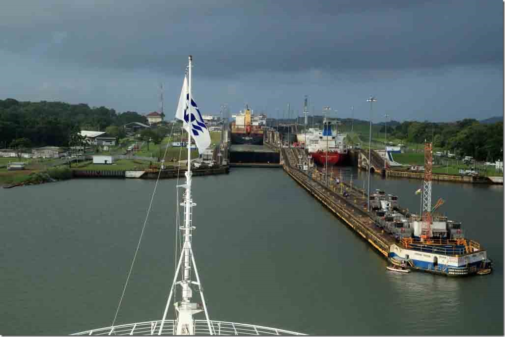 Approaching Gatun Locks lining up to pick up mule lines