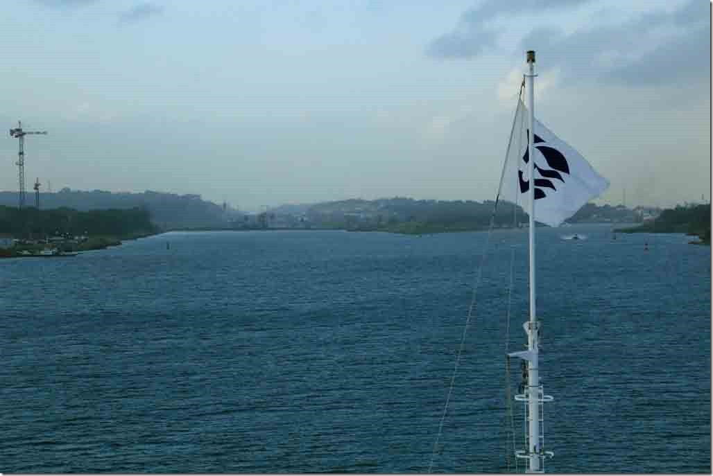 Approaching Panama Canal junction for old and new locks
