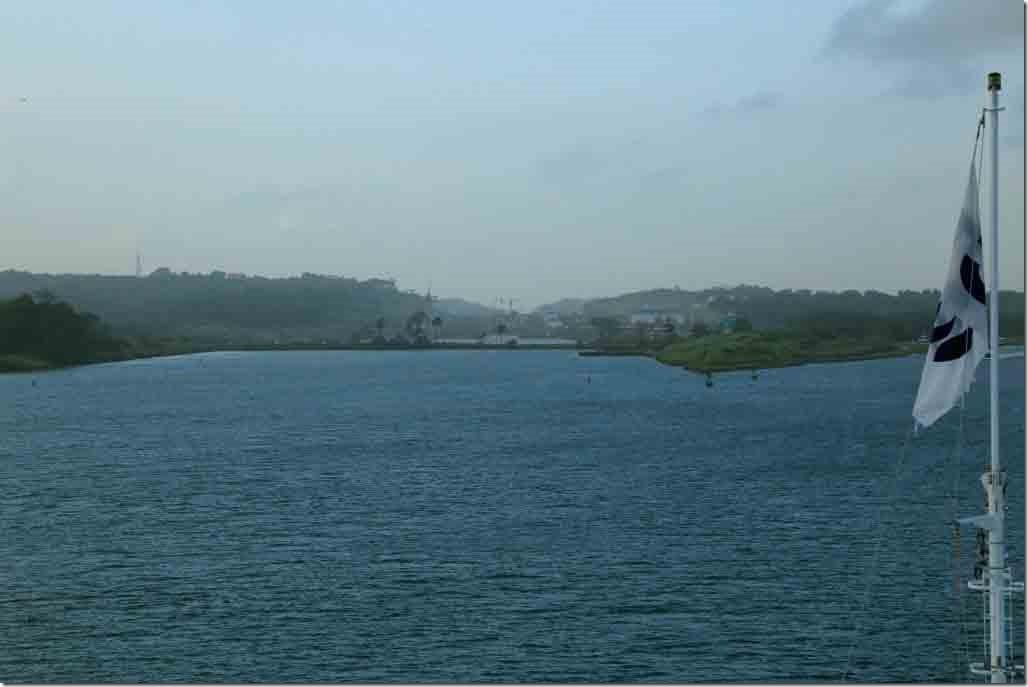Approaching Panama Canal new Gatun Locks