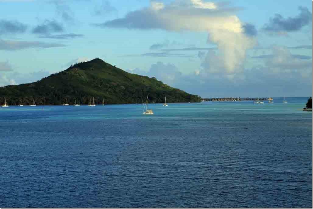 Bora Bora islet with resort on stilts