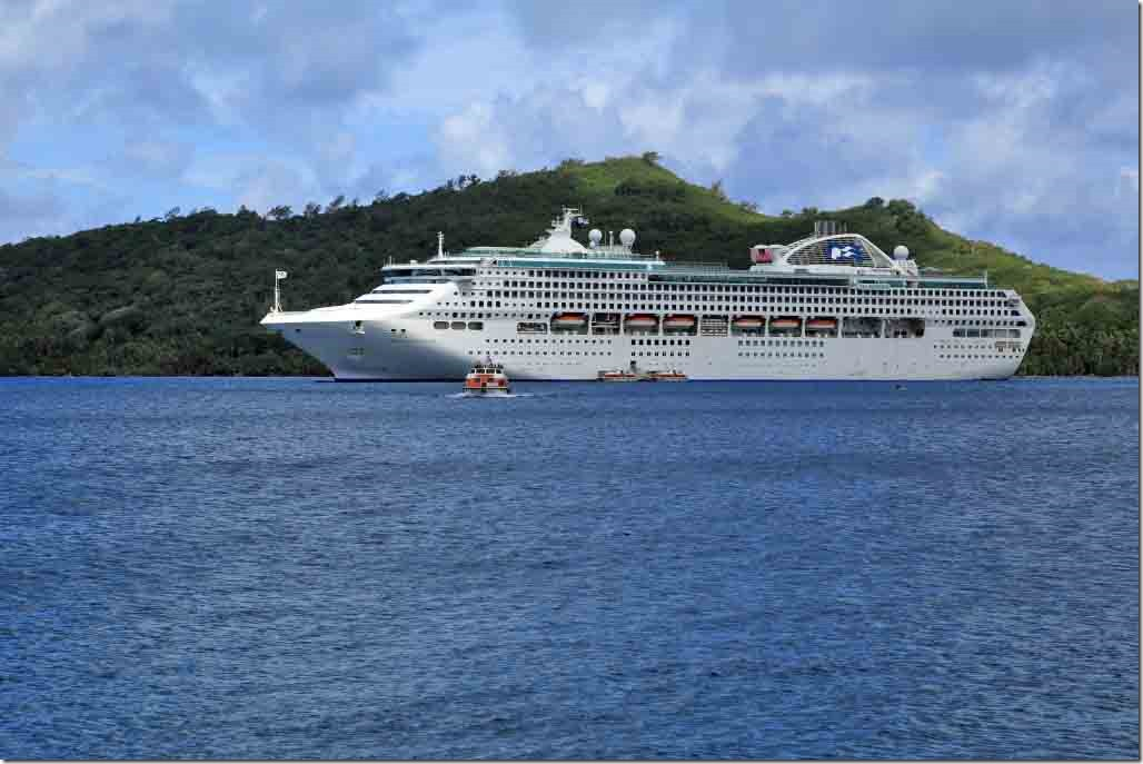 Bora Bora Sea Princess at anchor working tenders