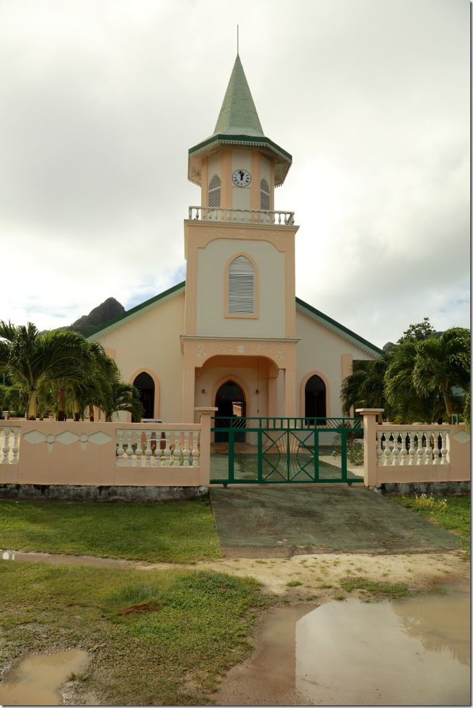 Bora Bora Tour Protestant CHurch which was first stop