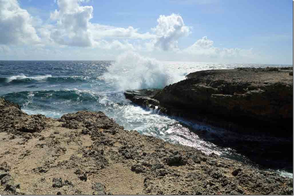 Christoffel National Park on NW shore with trade winds pounding ashore