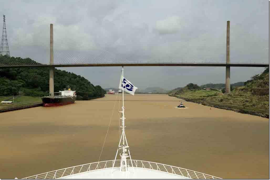 Culebra Cut Sea Princess holding up Centennial Bridge