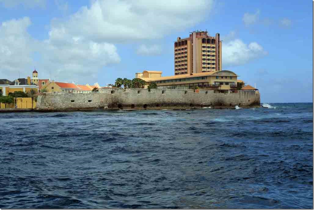 Curacao channel fortifications and tallest building on the island