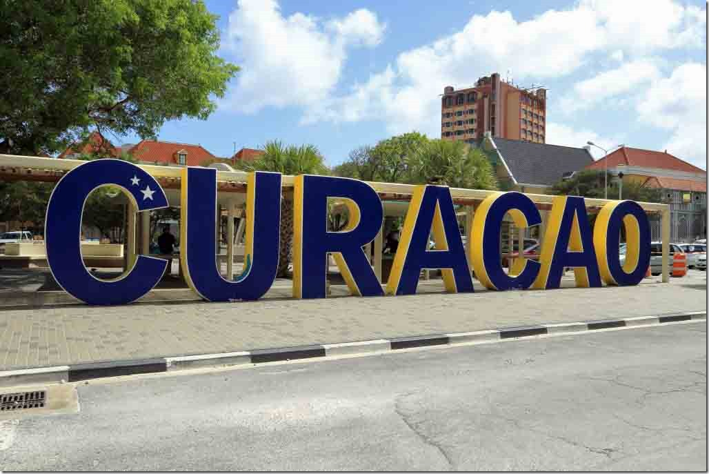 Curacao sign in plaza at end of Breedestraat Street