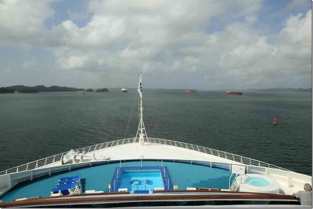 Departed Gatun Locks and entering Gatun Lake for transit to Balboa and the Cut