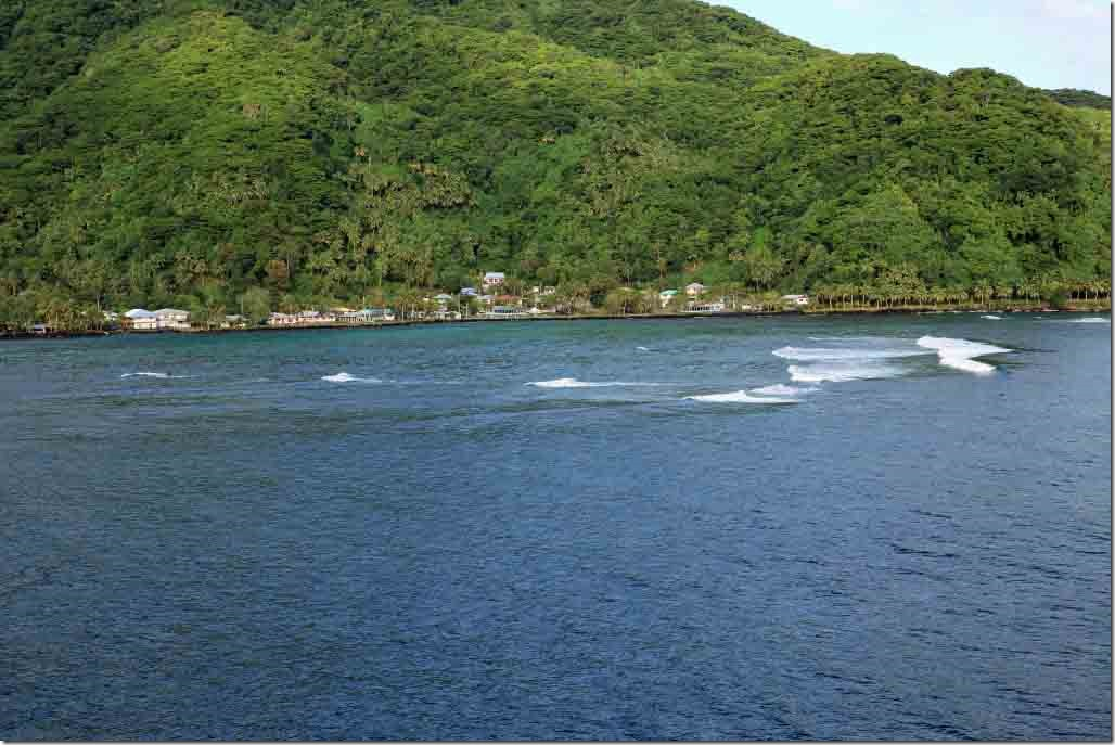 Departing through the narrow channel at Pago Pago with shoals close on port side