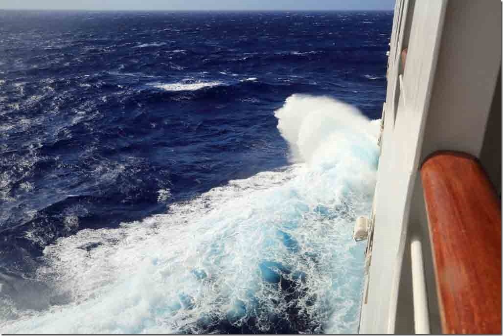 Enroute to Papeete with ship pounding and rolling in 55kt winds