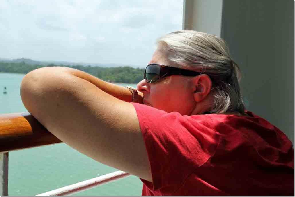 Judi enjoying the views of Gatun Lake from the balcony