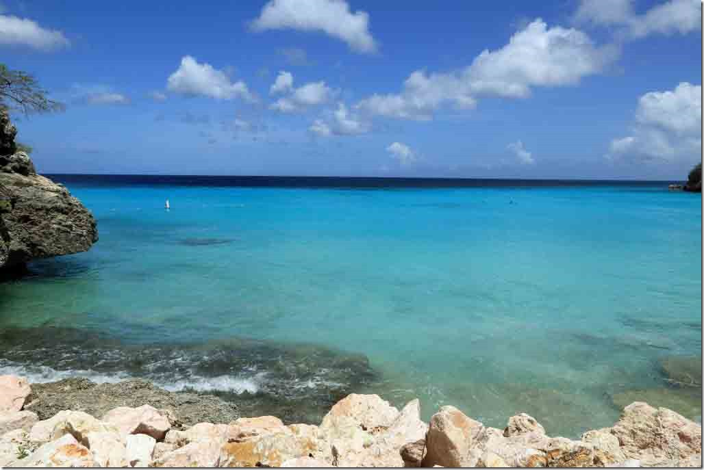 Knip Beach transition of turquoise to dark blue waters and white caps