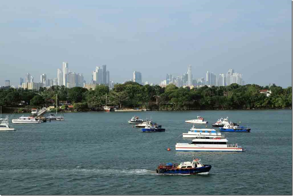Marina with Panama City in background