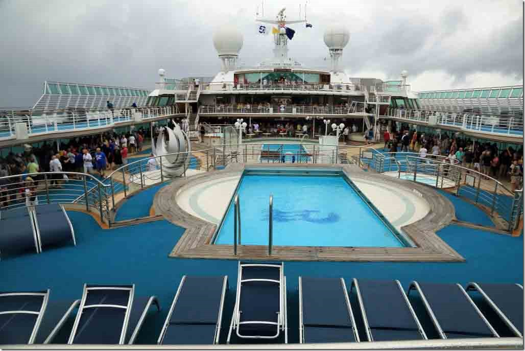 Market looking forward up Lido deck with tables and crowds on each side