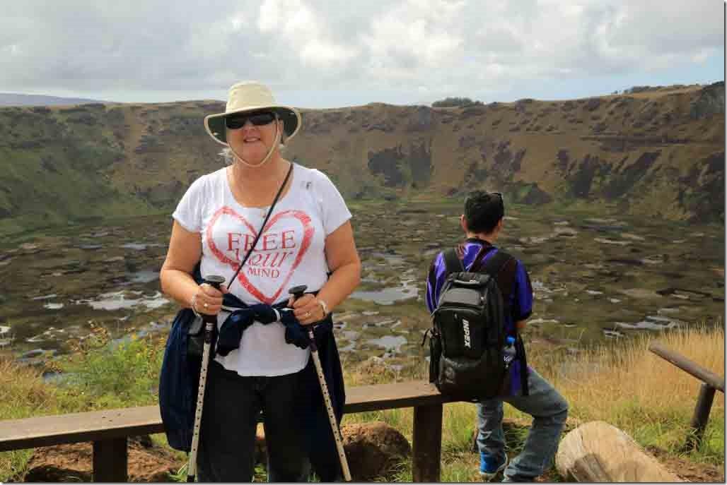 Orongo - Judi with Rano Kau caldera in background