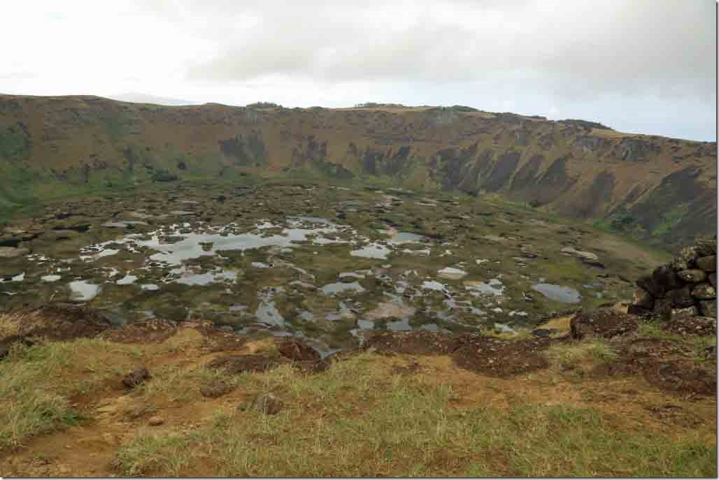 Orongo - Rano Kau's high caldera with a fresh water marsh inside