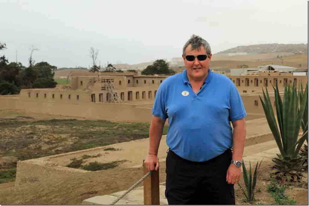 Pachacamac Ruins Andy with Inca Temple in background