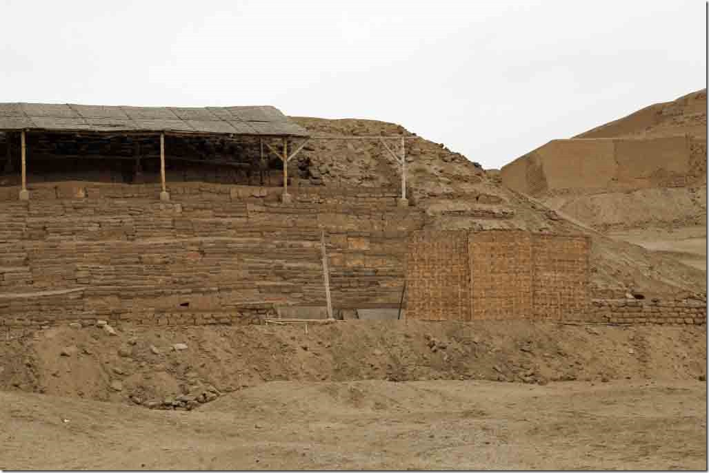 Pachacamac Ruins painted temple front close-up