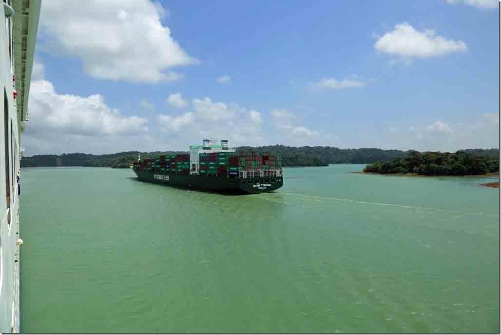 Passing an opposing ship in the lake