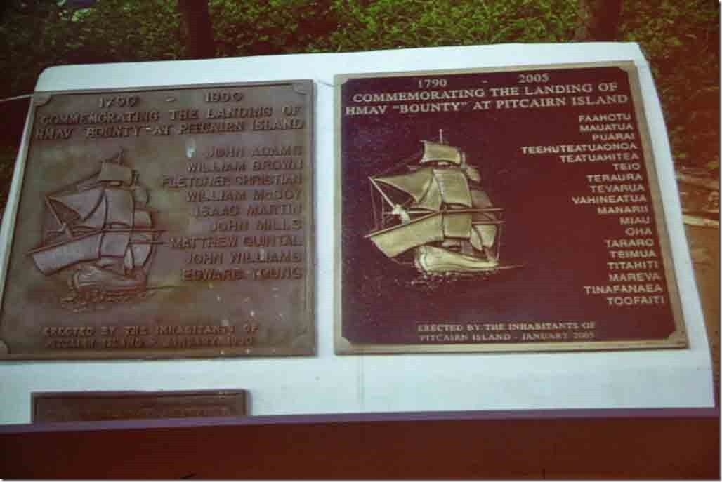 Pitcairn lecture commerative plaques with names of original mutineers and polynesian people