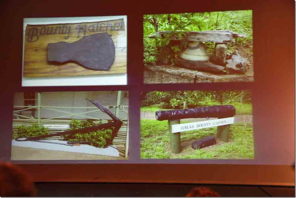 Pitcairn lecture HMS Bounty artifacts displayed around the island