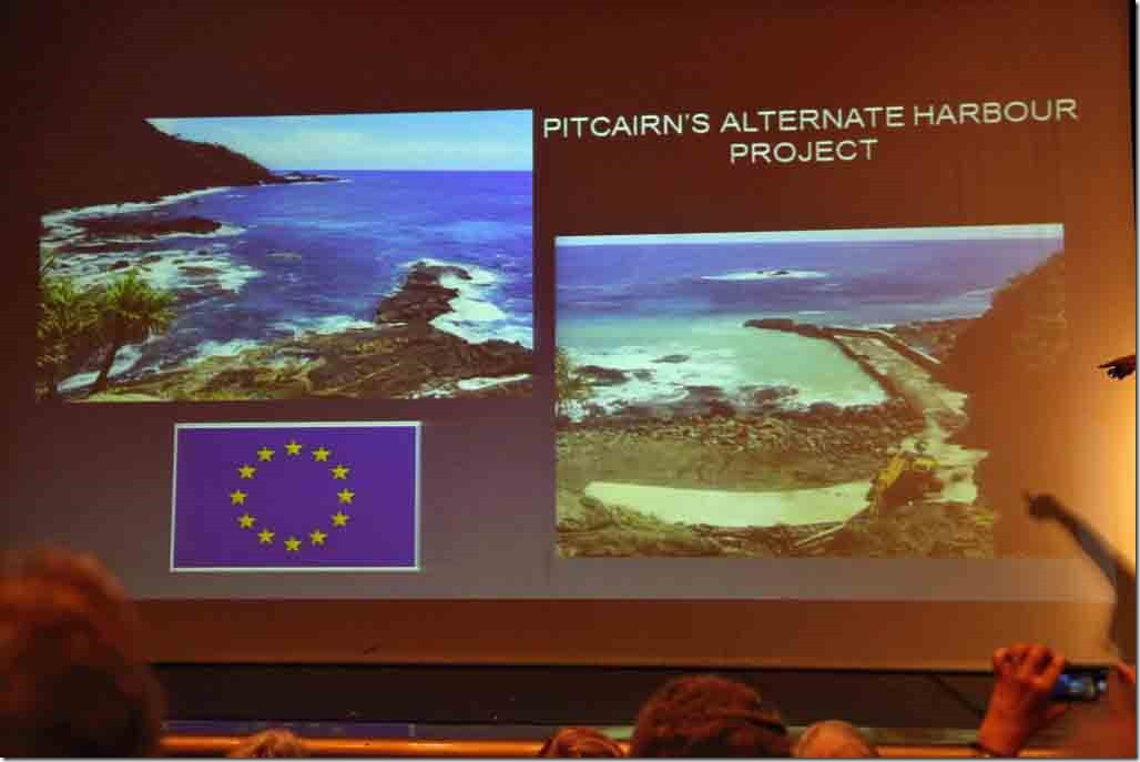 Pitcairn lecture new harbour on west side of island funded by European Community