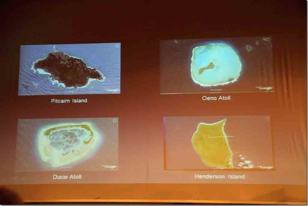 Pitcairn lecture showing 4 islands of the Pitcairn Island Group