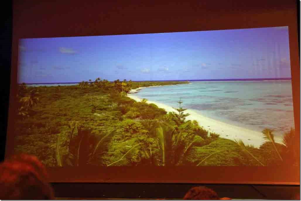 Pitcairn lecture showing uninhabited Henderson Island