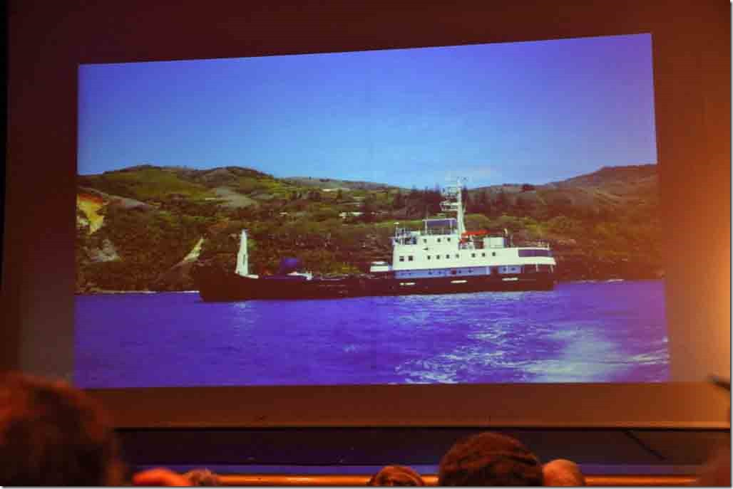Pitcairn lecture supply ship Claymore that comes every 3 months
