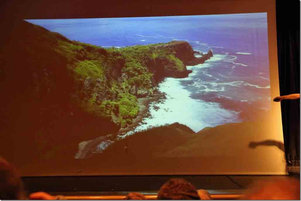 Pitcairn lecture with islands only beach that used to be accessed by a rope