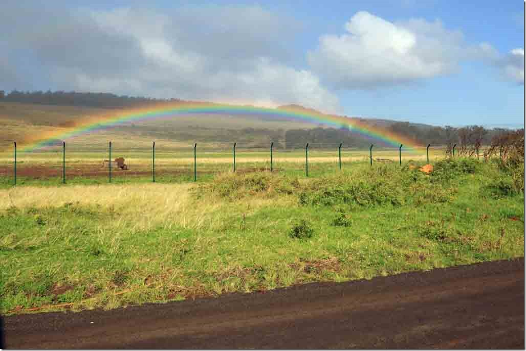 Rainbow over the Easter Island airport runway