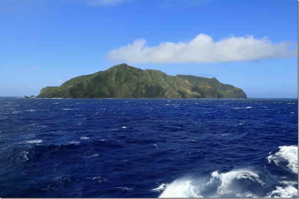 Scenic cruise approaching Western Point or Christian Point on Pitcairn Island