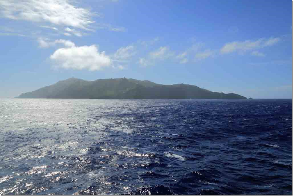Scenic cruise Pitcairn island at start of cruise around
