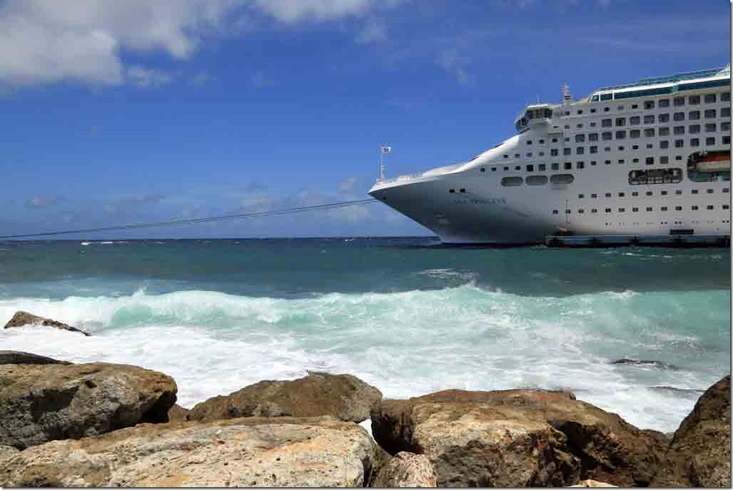 Sea Princess alongside at Curacao