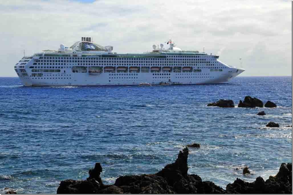 Sea Princess anchored off Easter Island