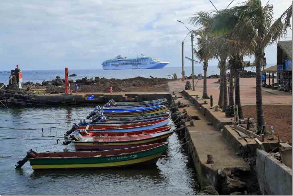 Walk - down harbour fishing boats with Sea Princess at anchor