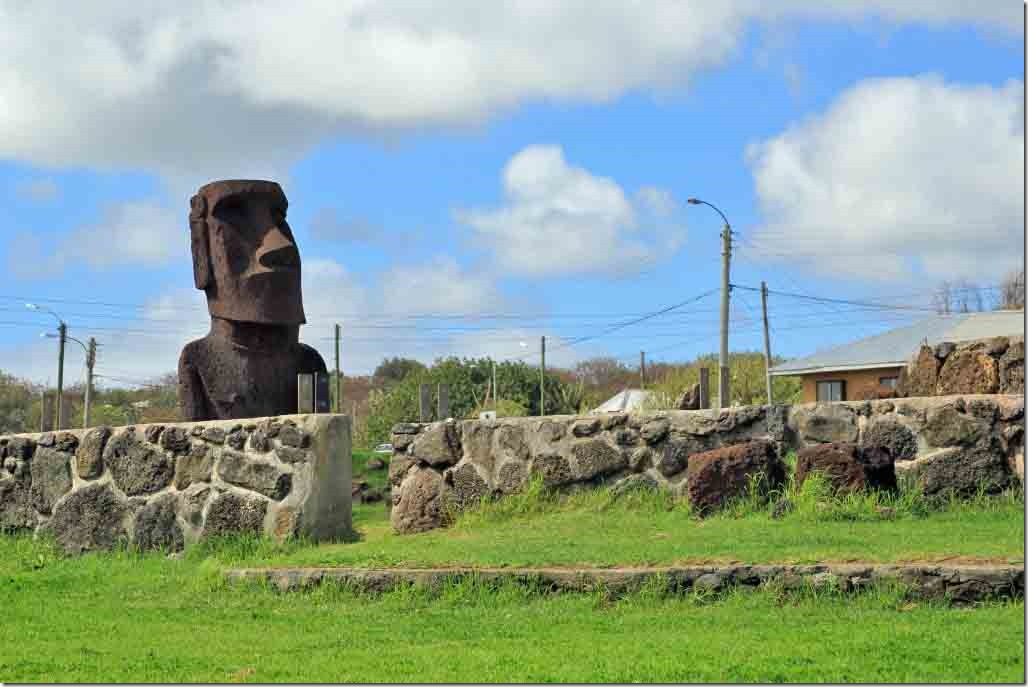 Walk - Moai type statue in park by cemetery