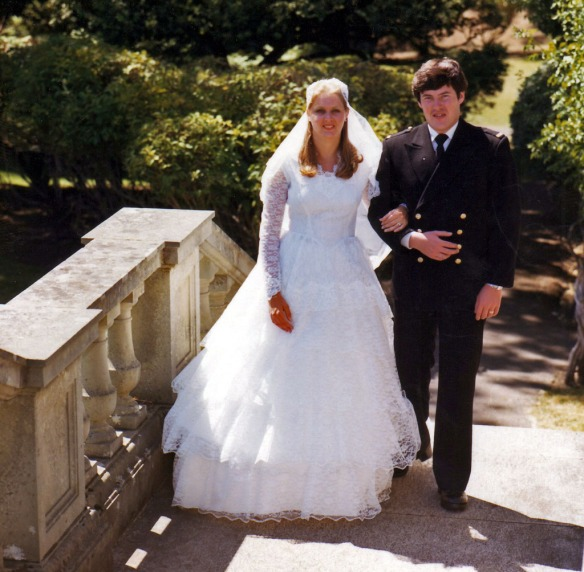 Aug 80 - Wedding Photos at Royal Roads, formal portrait, Andy & Judi walking up steps 2