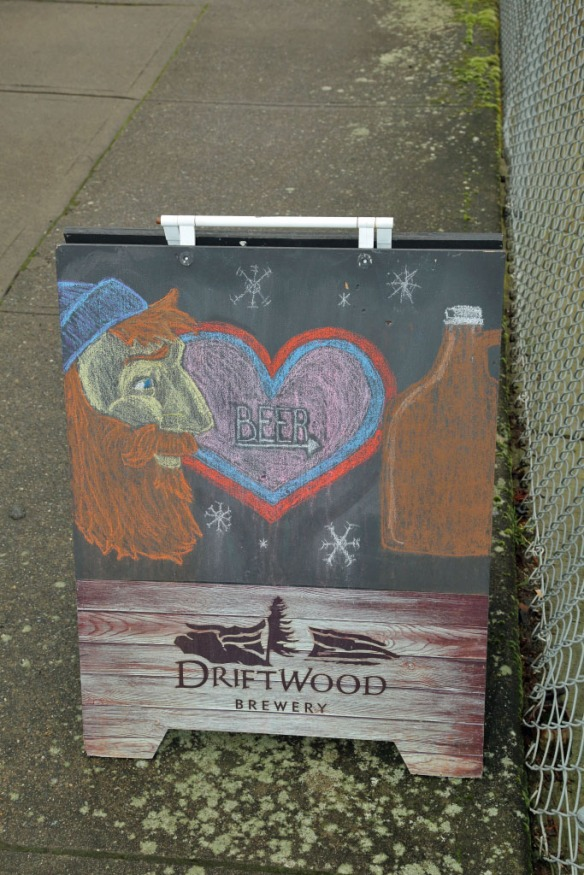 Driftwood brewery sign at entrance