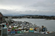 Victoria condo view from balcony over fisherman's wharf and harbour entrance