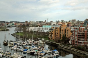 Victoria condo view of marina and neighbours