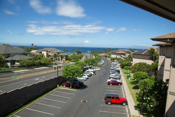 Arrival Kihei with view from balcony on a blustery day