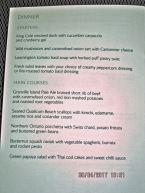 First Class main course menu