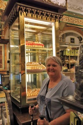Harrods with Judi checking out the chocolates