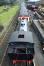 Haverthwaite Station steam train approaching platform