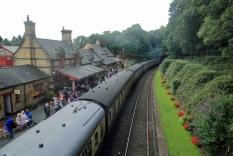 Haverthwaite Station steam train at the station