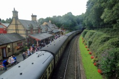 Haverthwaite Station steam train at the station