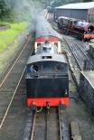 Haverthwaite Station steam train changing tracks