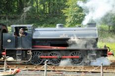 Haverthwaite Station steam train departing close up
