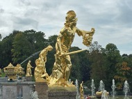 155 Peterhof Palace - Grand Cascade balcony gold statues