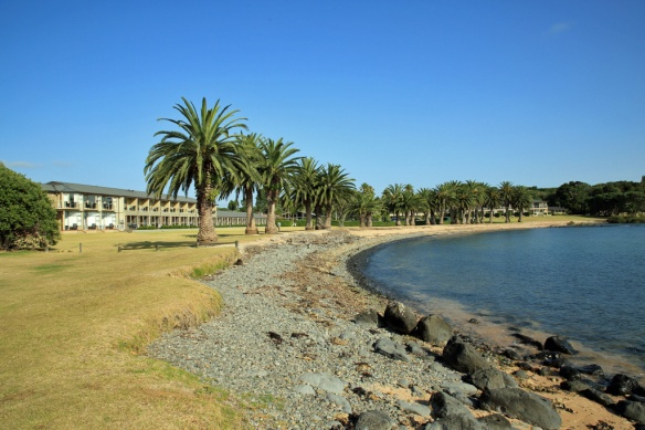 04 Copthorne Hotel and palm tree lined bay